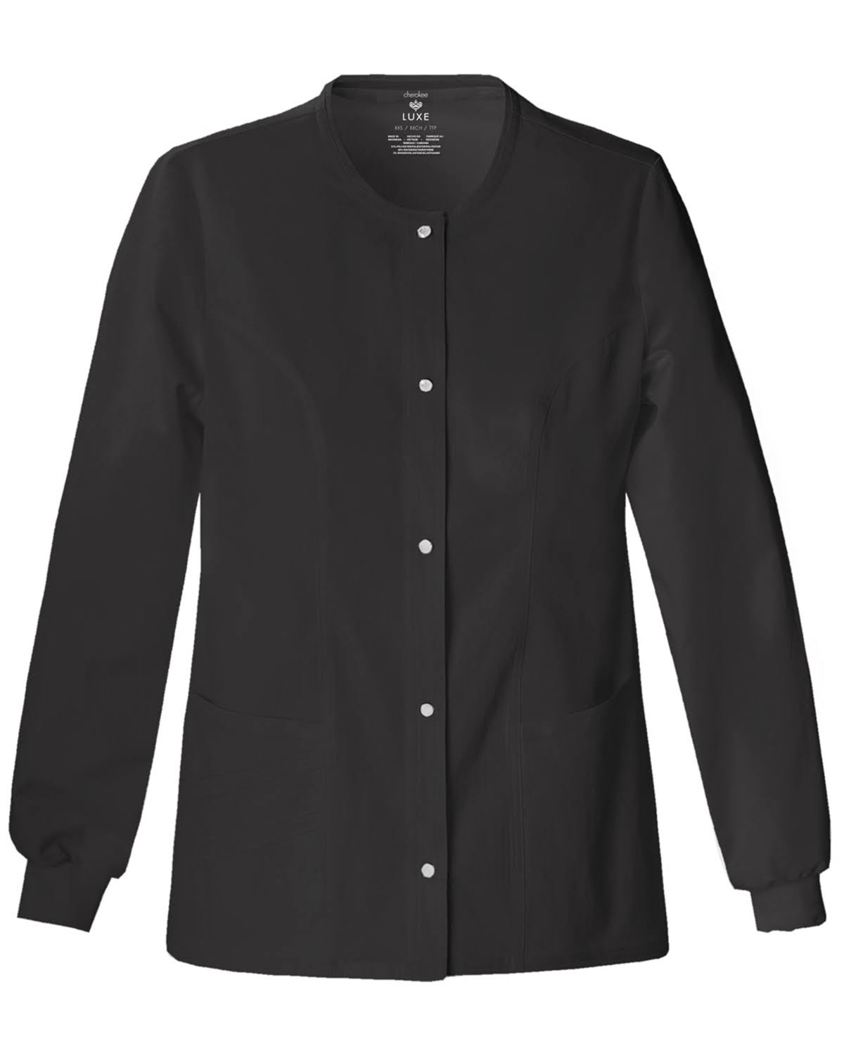 Cherokee Women's Scrubs Luxe Snap Front Warm Up Jacket - Black, Large