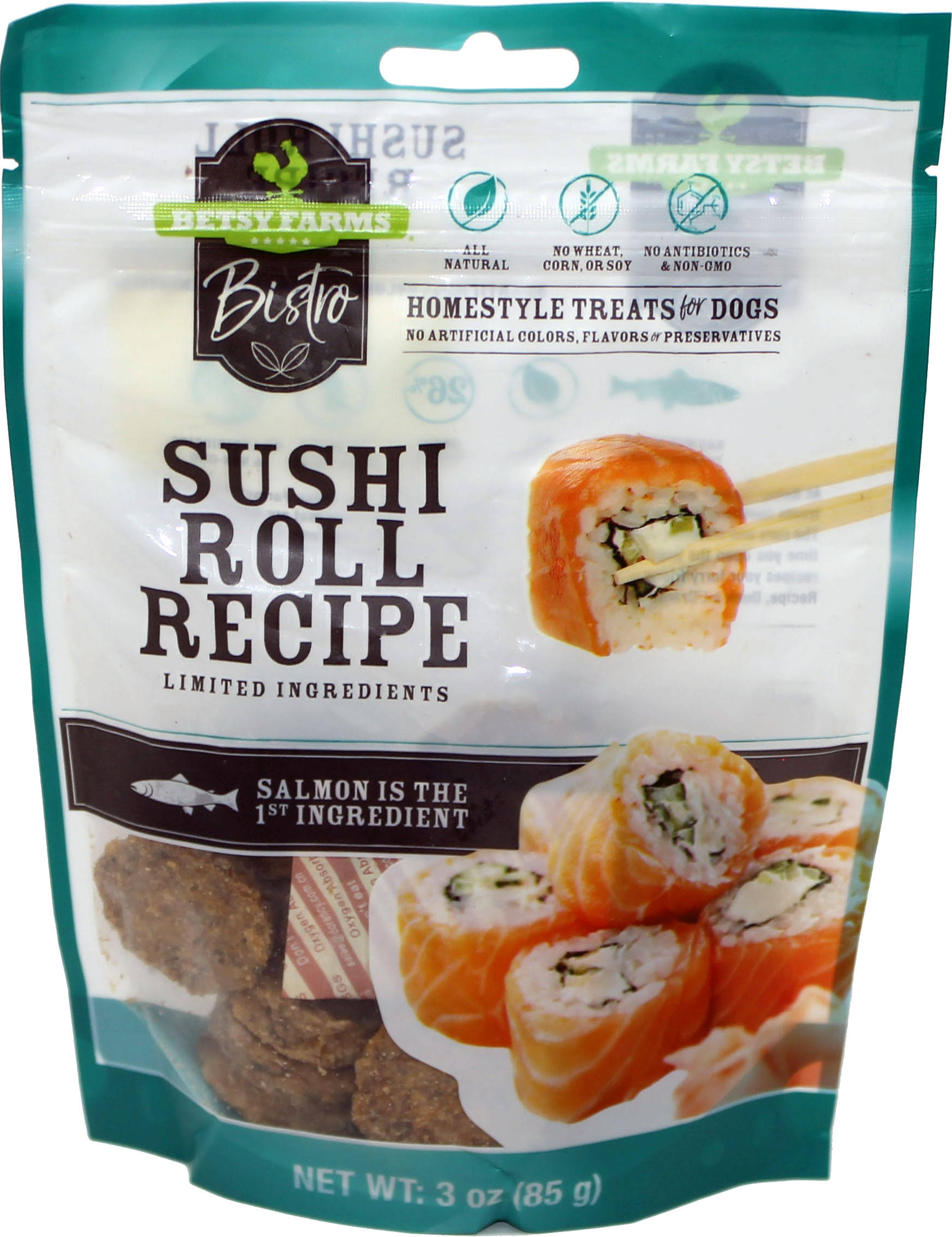 Betsy Farms Bistro Treat for Dogs, Sushi Roll Recipe, Homestyle - 3 oz