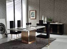 Cheap Dining Room Sets Uk by Kingsley Modern Marble U0026 Rosegold Dining Table