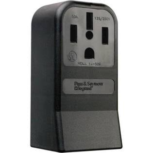Pass and Seymour Surface Mount Range Outlet - Black, 50 Amp