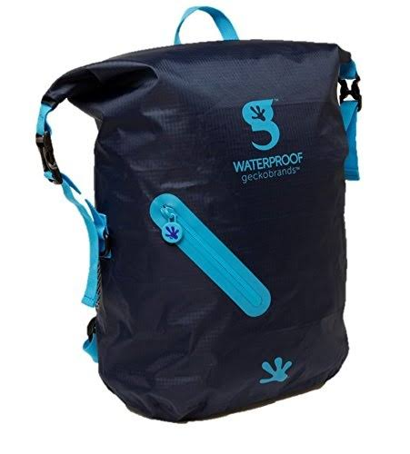 Geckobrands Waterproof Lightweight Backpack - Navy and Bright Blue, 30L
