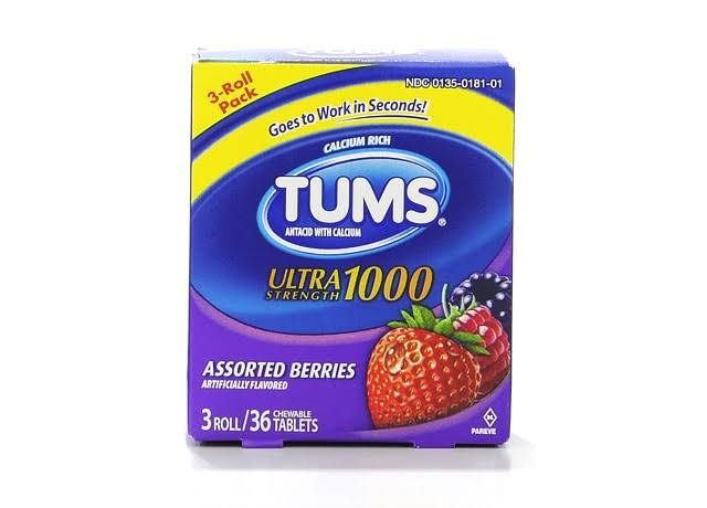 Tums Antacid, Ultra Strength 1000, Chewable Tablets, Assorted Berries - 3 rolls [36 tablets]