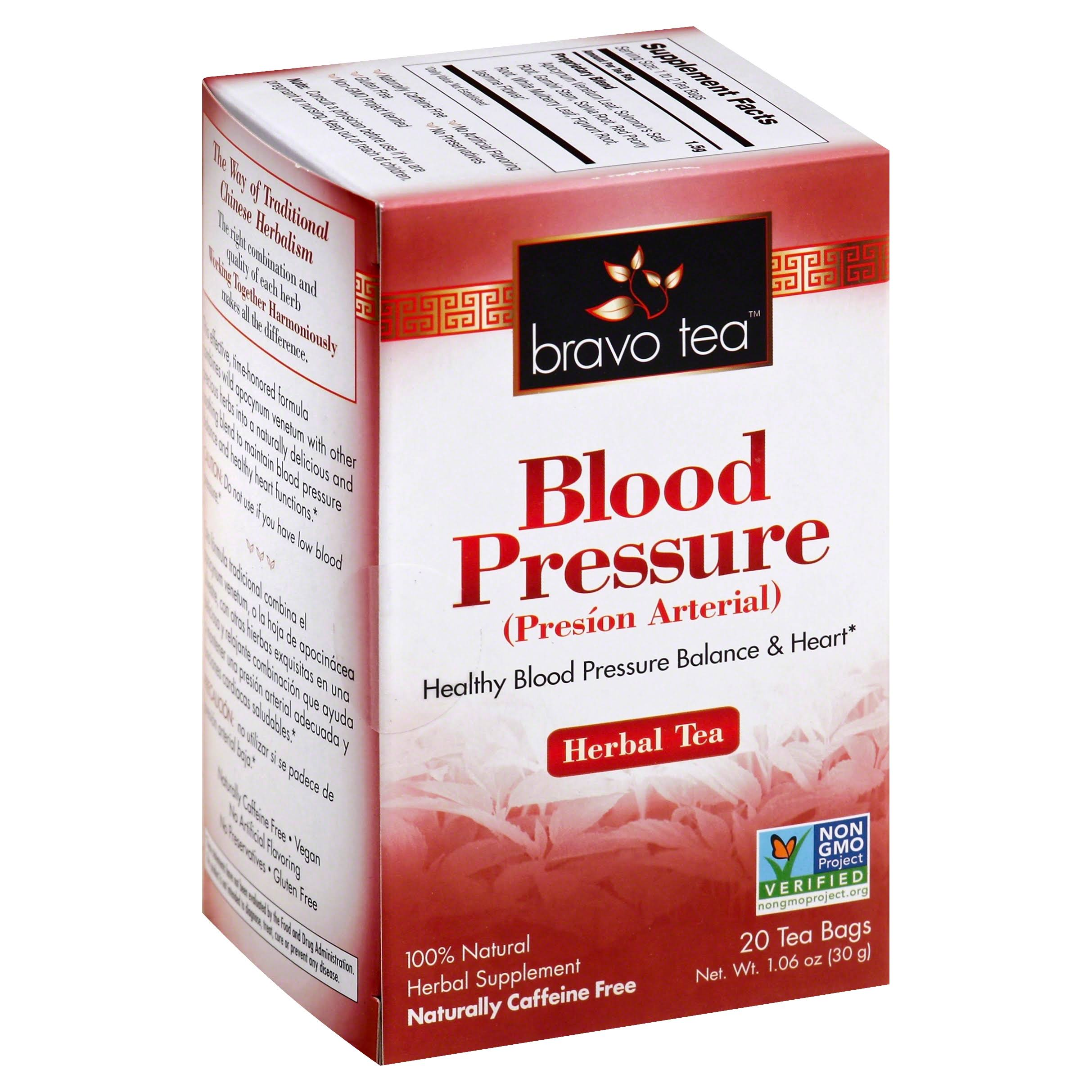 Bravo Tea Blood Pressure Herbal Tea - Caffeine Free, 20 Tea Bags
