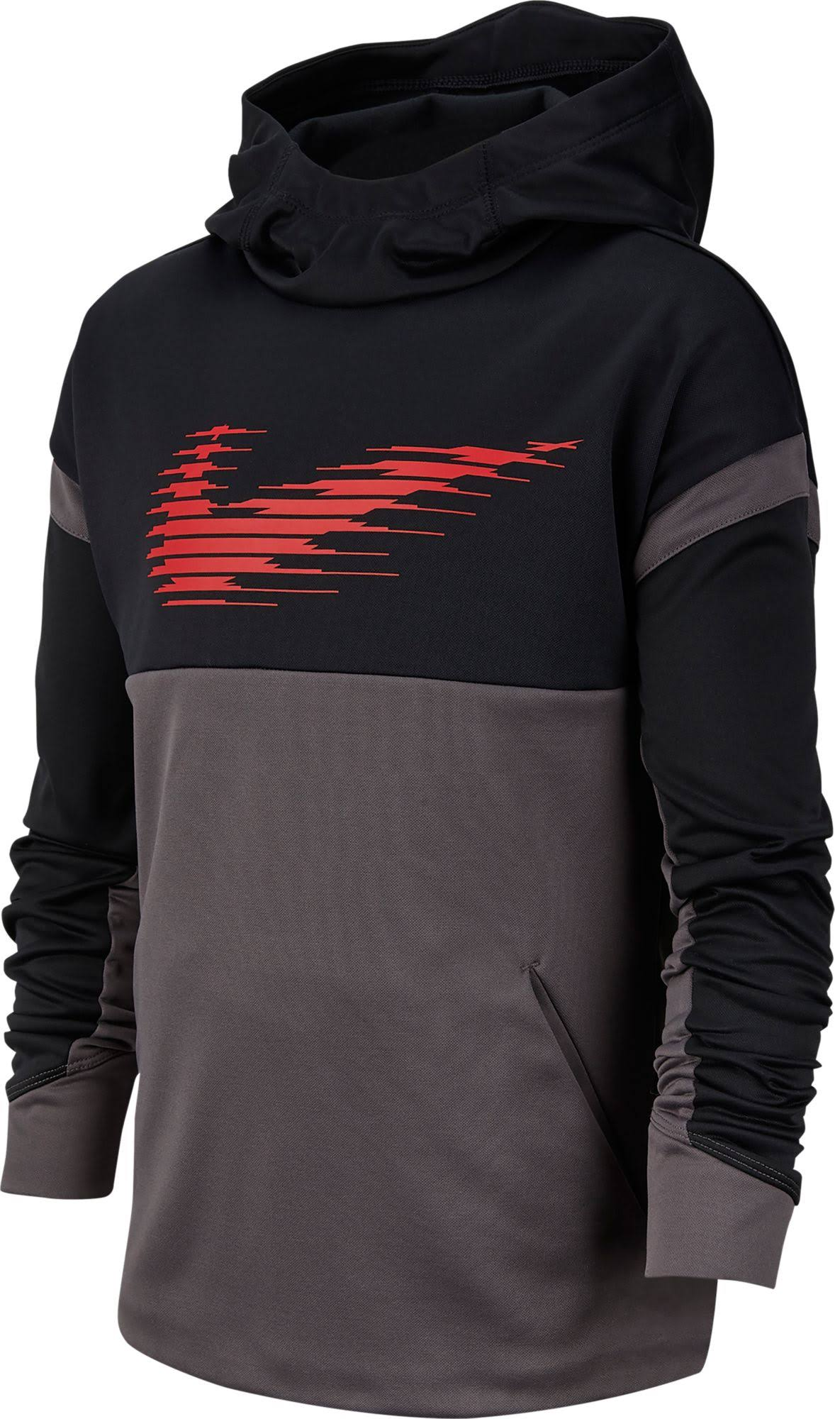 Nike Boys' Black/Thunder Grey Therma Pullover Hoodie - L