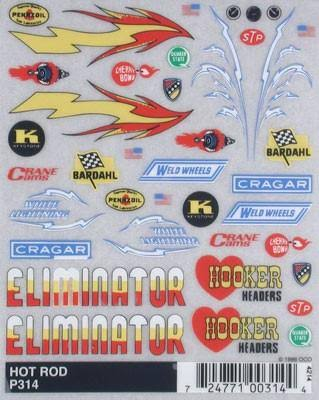 PineCar Derby Racers Dry Transfer Decals - Hot Rod