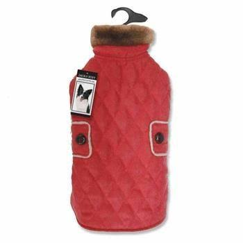 Zack and Zoey Elements Derby Quilted Dog Coat - Red - Small