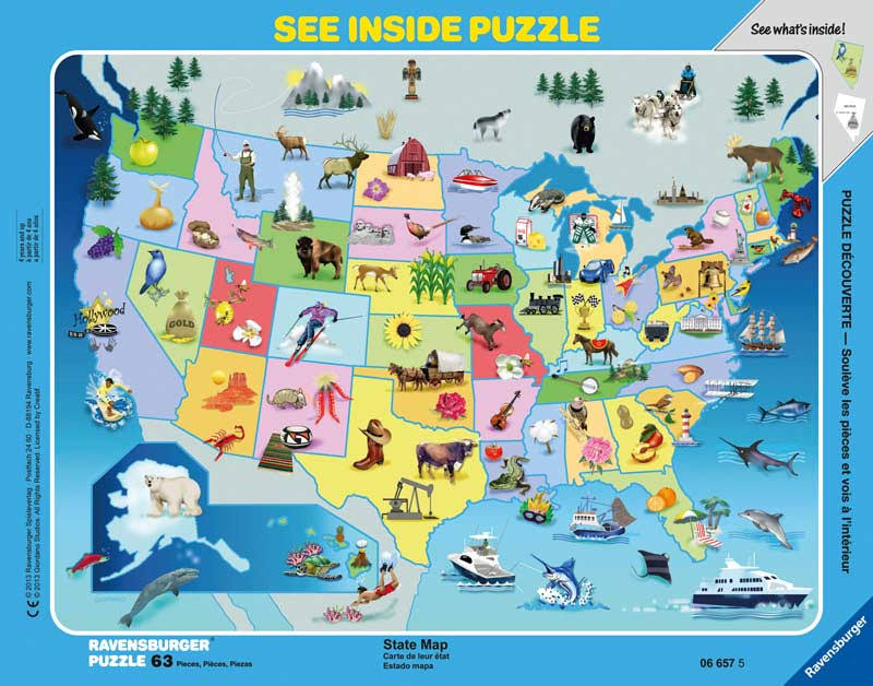 Ravensburger State Map See Inside Frame Puzzle - 63 Pieces
