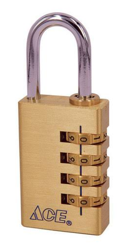 Ace 7/8 in. 4-Dial Combination Brass Padlock(381-20251)