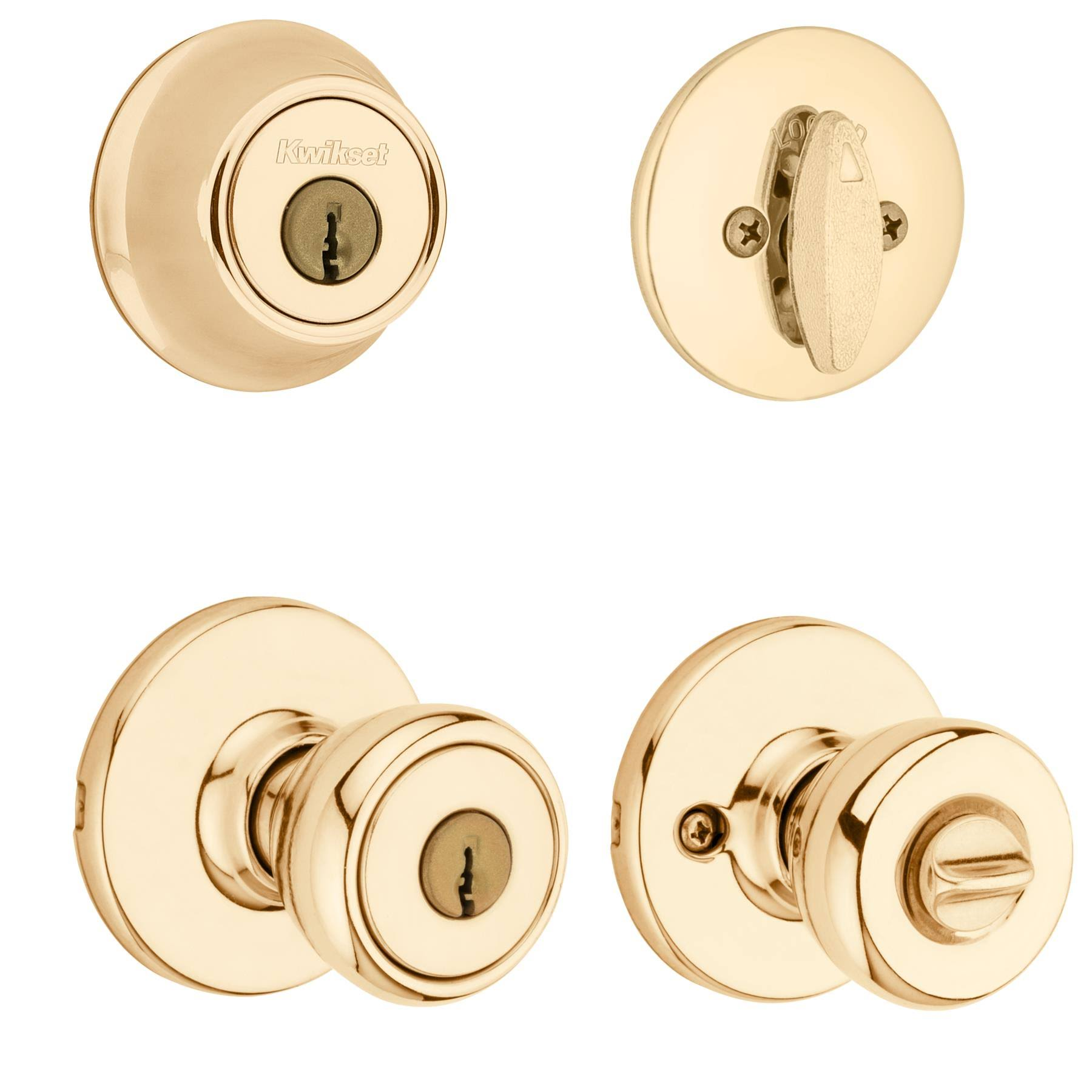 Kwikset Tylo Entry Knob and Single Cylinder Deadbolt Combo - Polished Brass