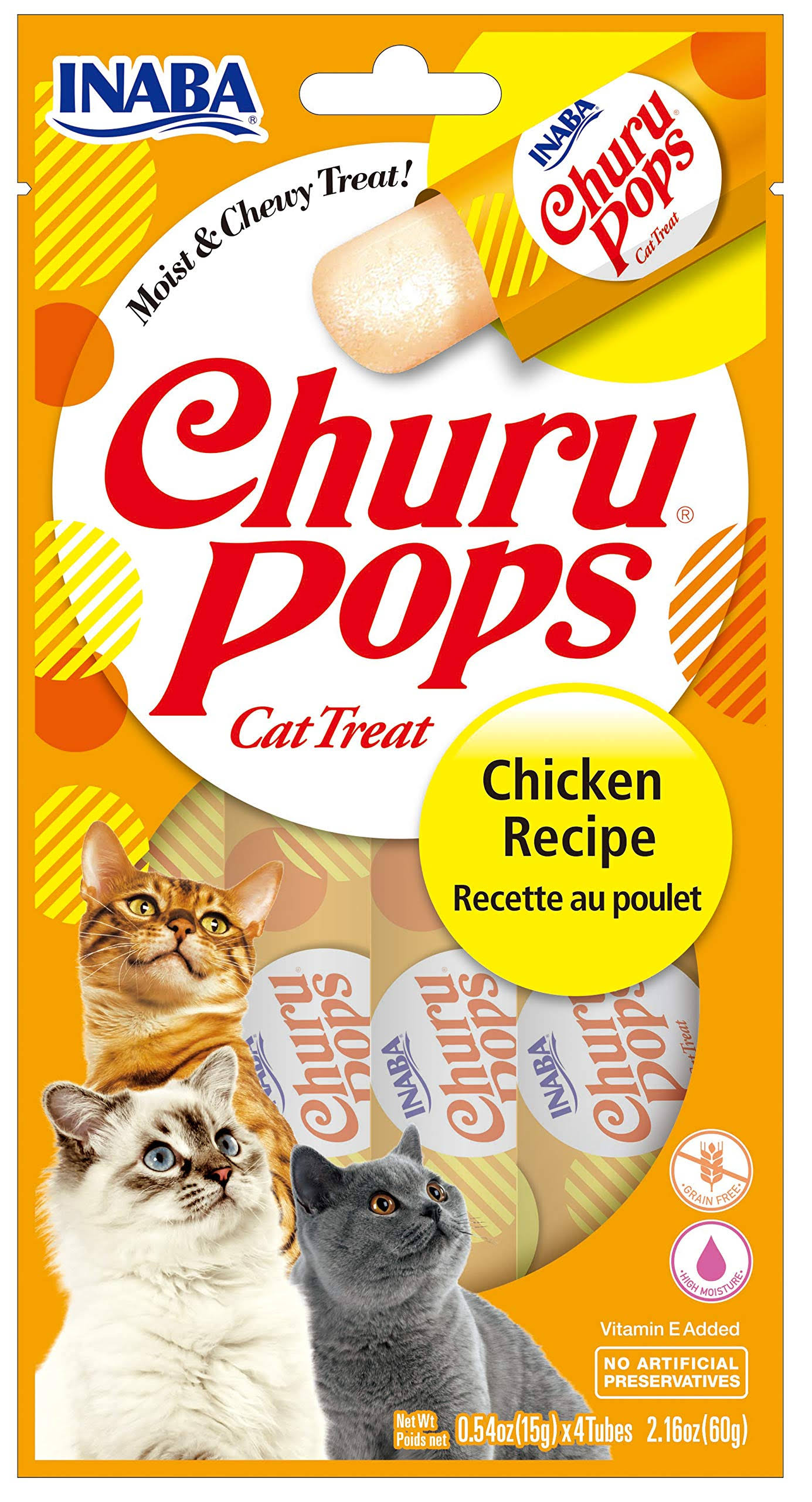 Inaba Churu Churu Pops Cat Treat - Chicken Recipe, 4 Tubes, 60g