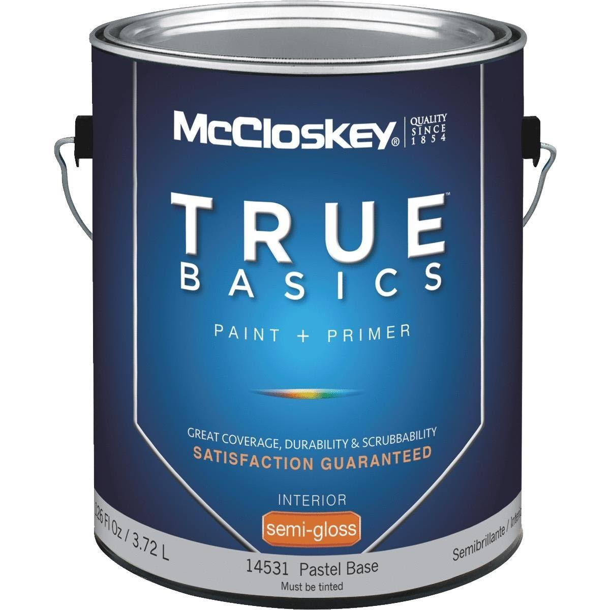 McCloskey 14531 True Basics Latex Paint & Primer Semi-Gloss Interior Wall Paint - Pastel Base, 1gal