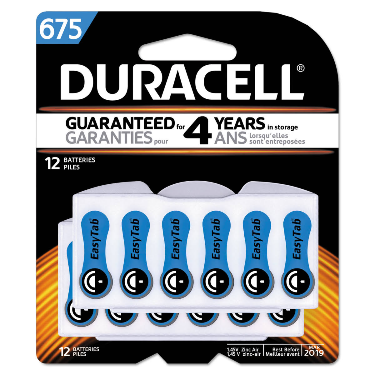 Duracell Easy Tab Hearing Aid Batteries - Size 675, 12pcs
