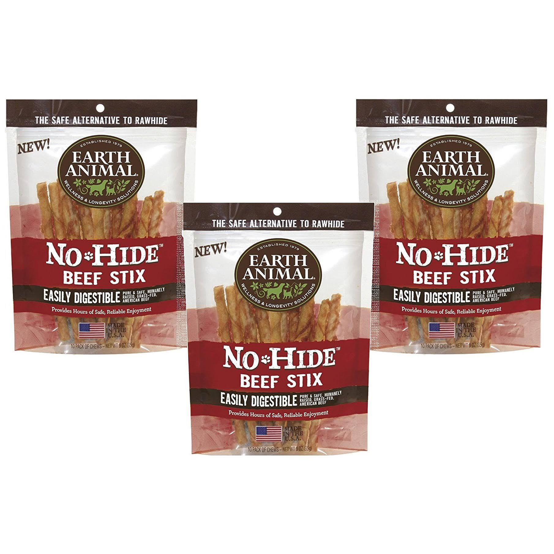 Earth Animal No Hide Stix - Beef, 10 Pieces