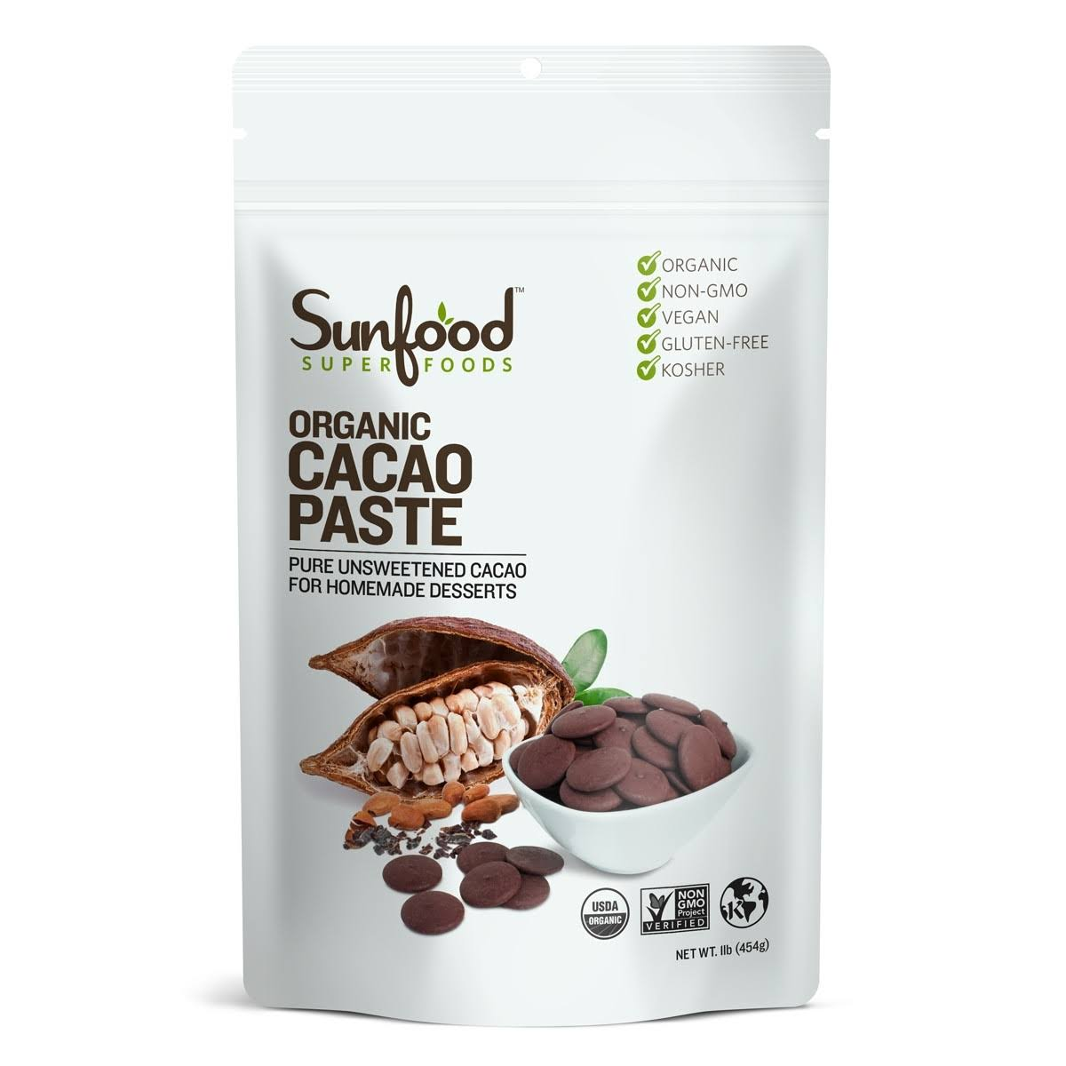 Sunfood Organic Cacao Paste - 1lb