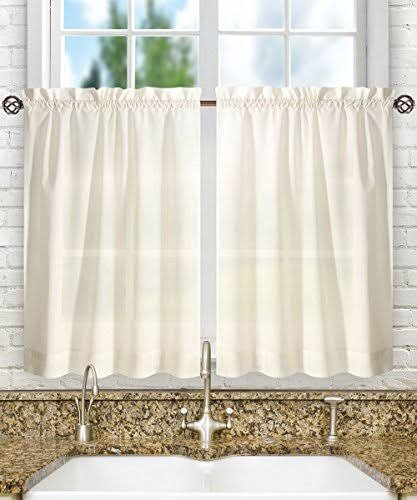 Ellis Curtain Stacey 56-By-30 inch Tailored Tier Pair Curtains, Ice Cream, 56x30