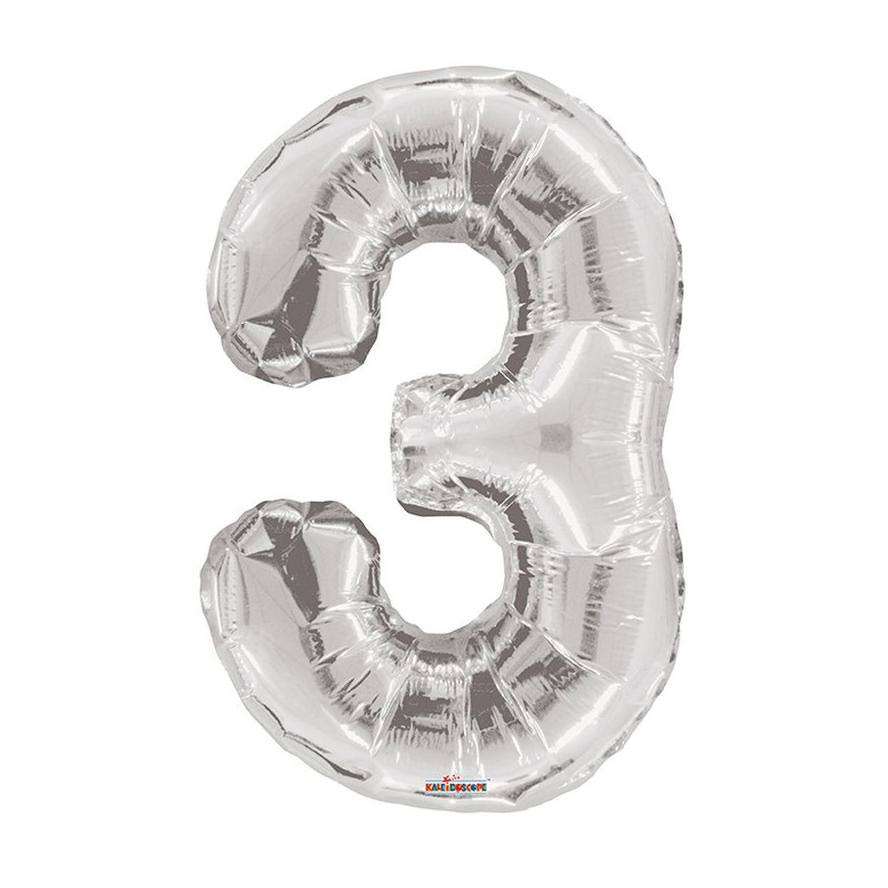 Number 3 Foil Balloon - Silver