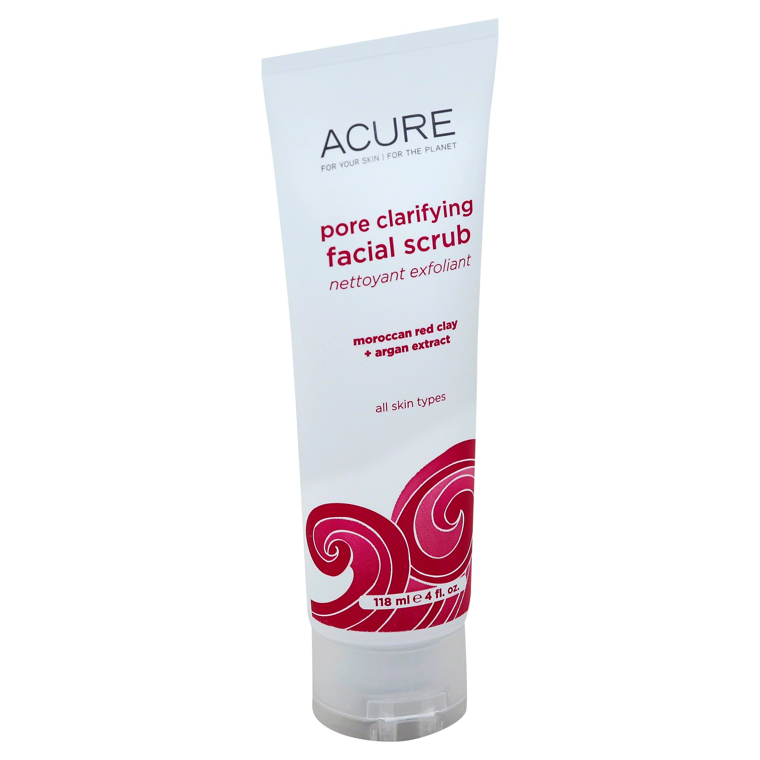 Acure Organics Pore Minimizing Facial Scrub - 4oz, Moroccan Red Cay and Argan Stem Cell