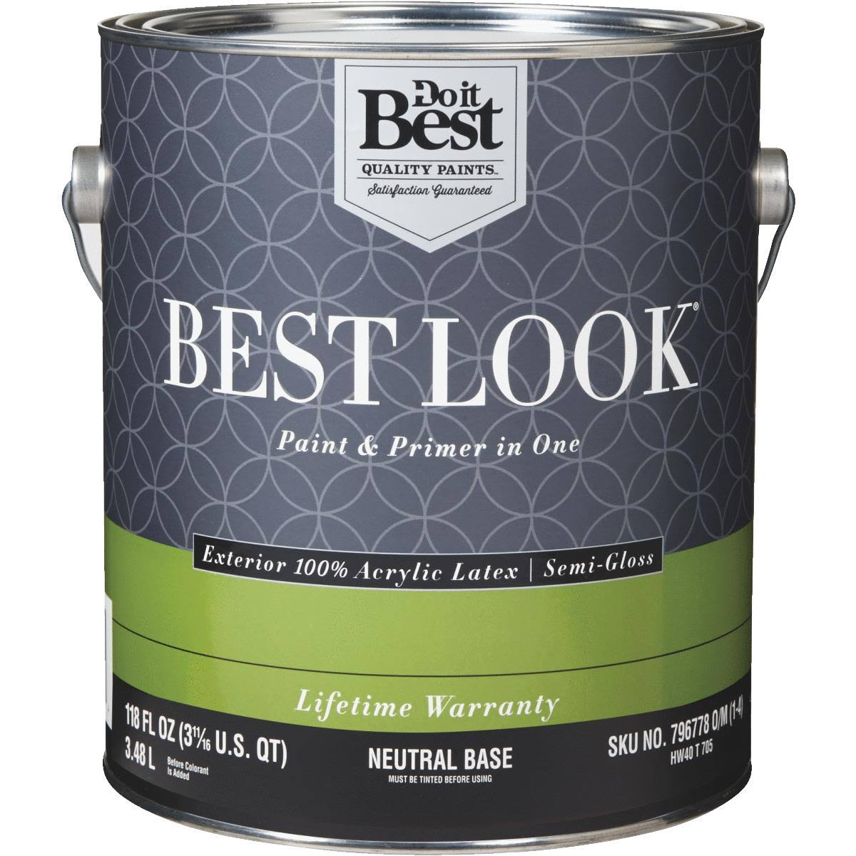 Best Look 100% Acrylic Latex Paint & Primer in One Semi-Gloss Exterior House Paint