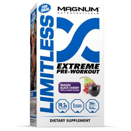 Magnum Limitless Extreme Pre Workout Supplement - Brazen Black Cherry, 20 Servings