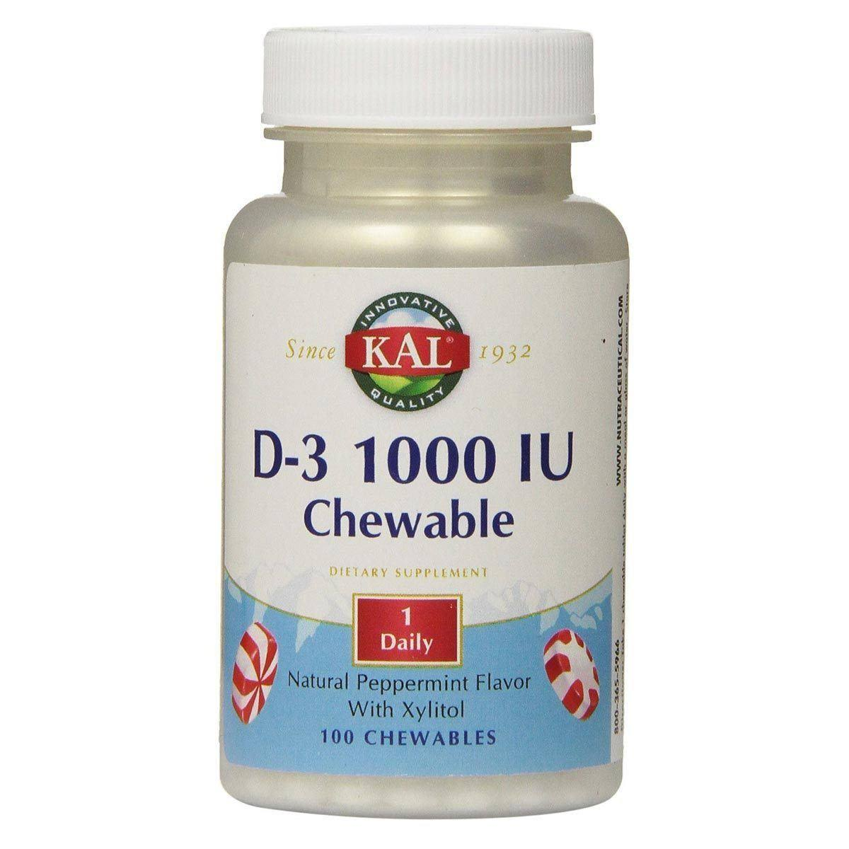 Kal D-3 Chewable Dietary Supplement - 1000 IU, 100 Chewables