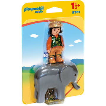 Playmobil 123 Zookeeper with Elephant Figure Building Set