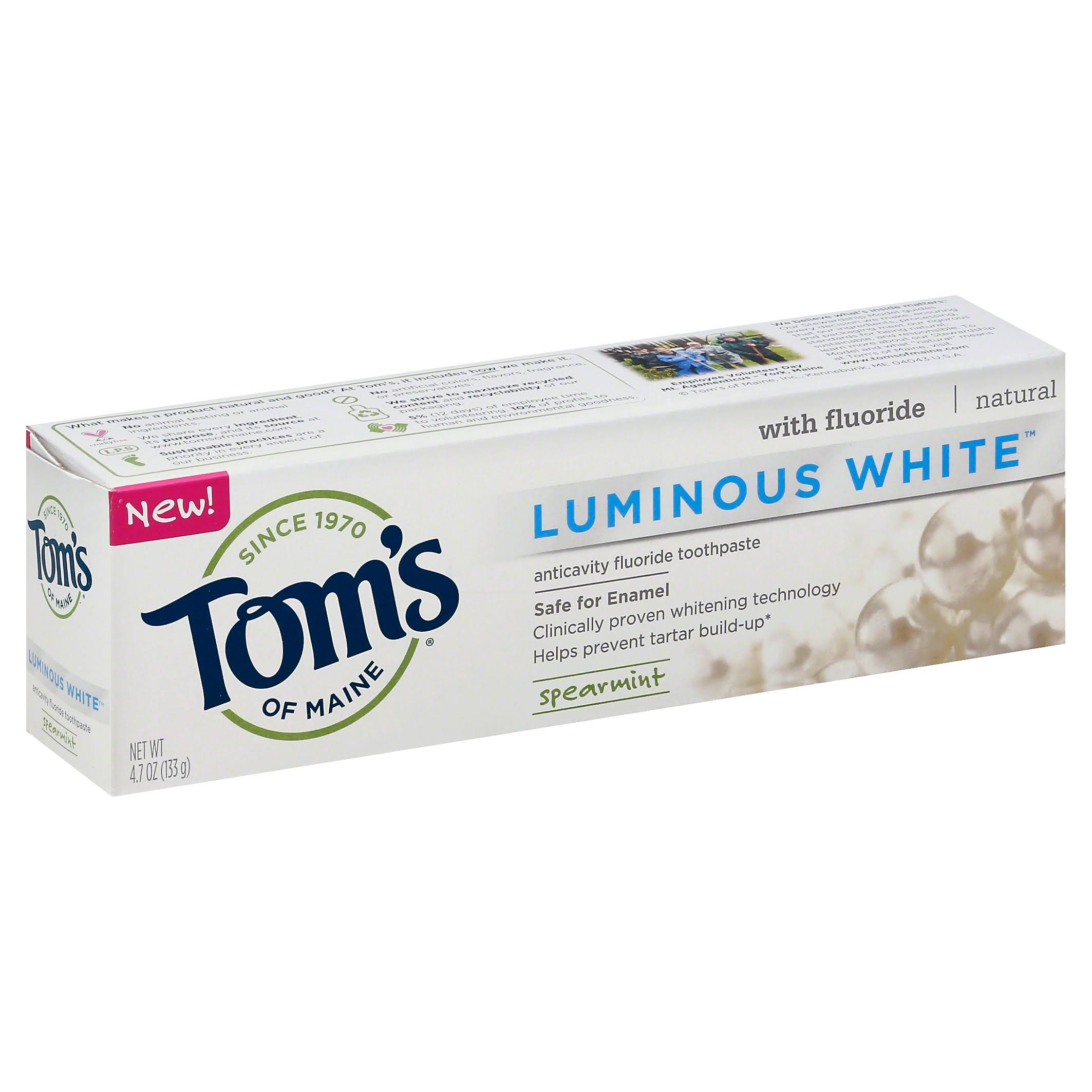 Toms of Maine Toothpaste, Anticavity Fluoride, Luminous White, Spearmint - 4.7 oz