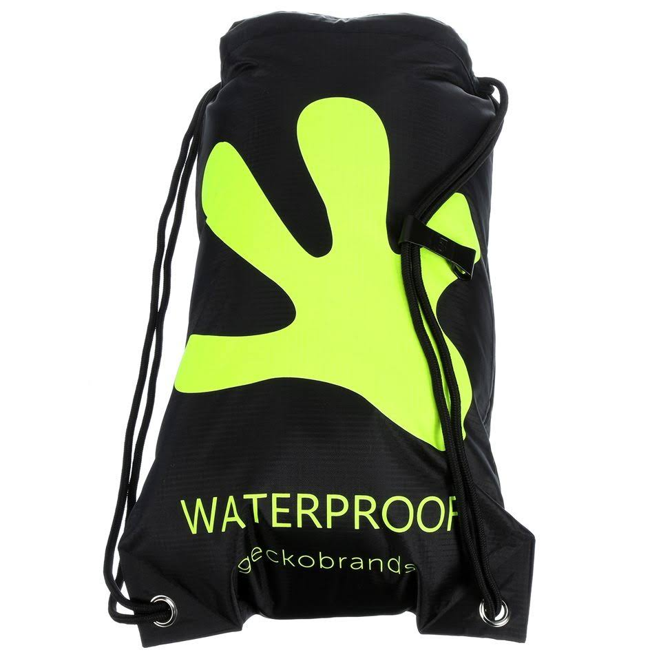 Geckobrands Waterproof Drawstring Backpack - Bright Green & Black