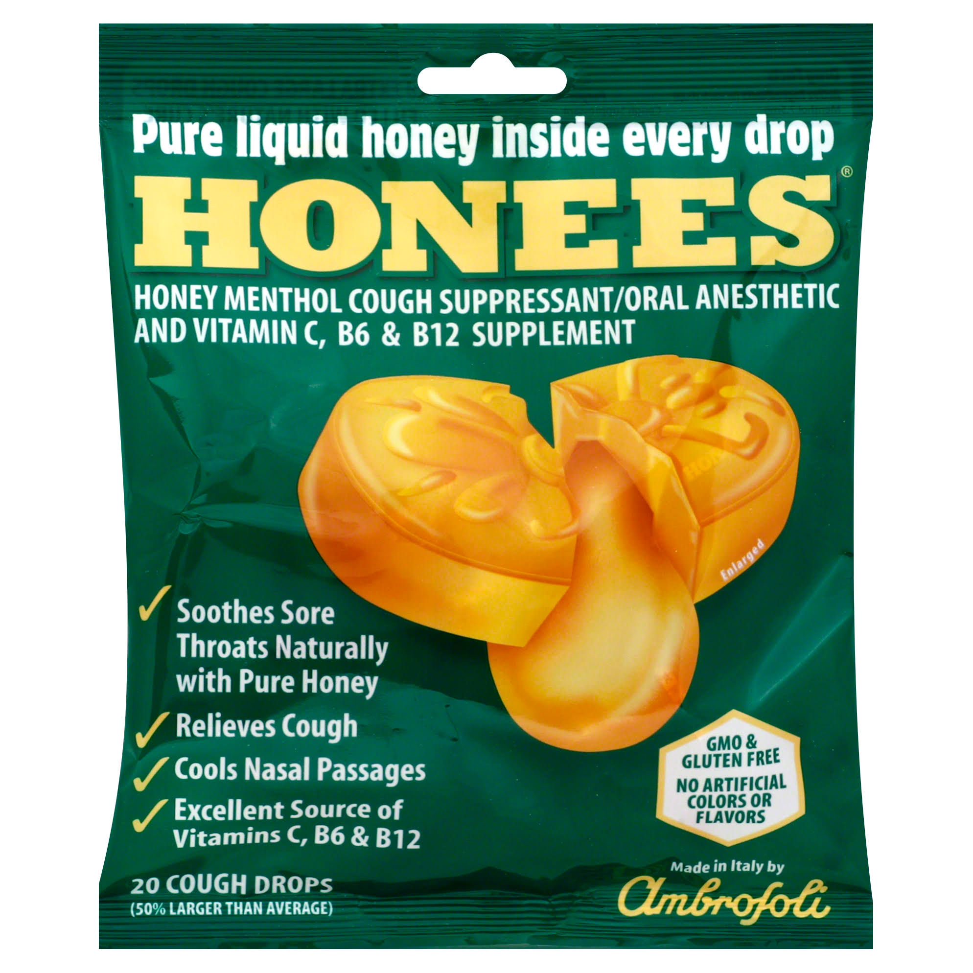 Honees Original Honey Menthol Cough Drops - 20ct