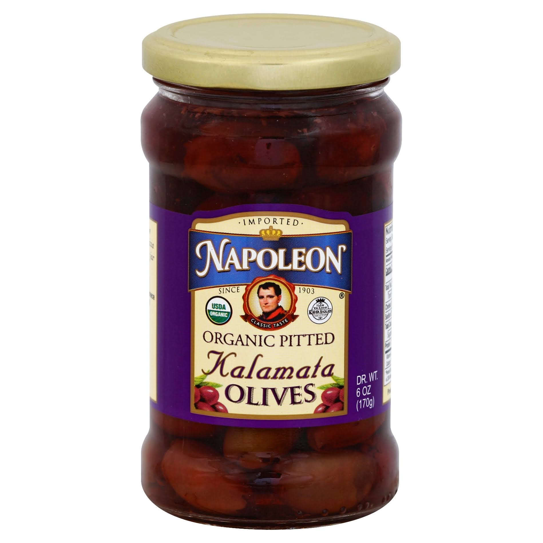 Napoleon Olives, Organic, Kalamata, Pitted - 6 oz