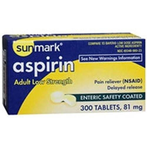 Sunmark Aspirin - Adult, 81mg, 300 tablets