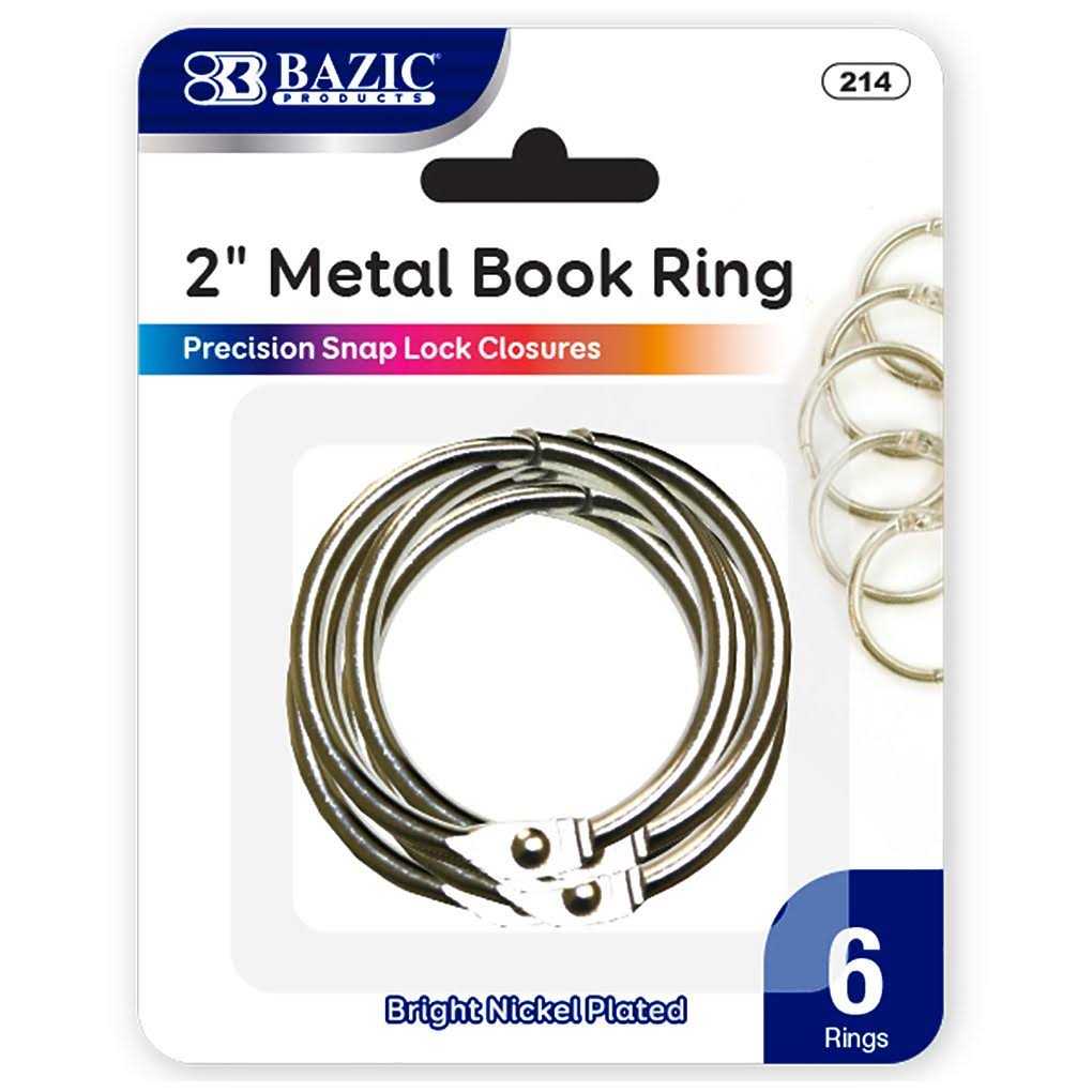 Bazic 2286570 2 in. Metal Book Rings, Silver - Pack of 6 & Case of 24