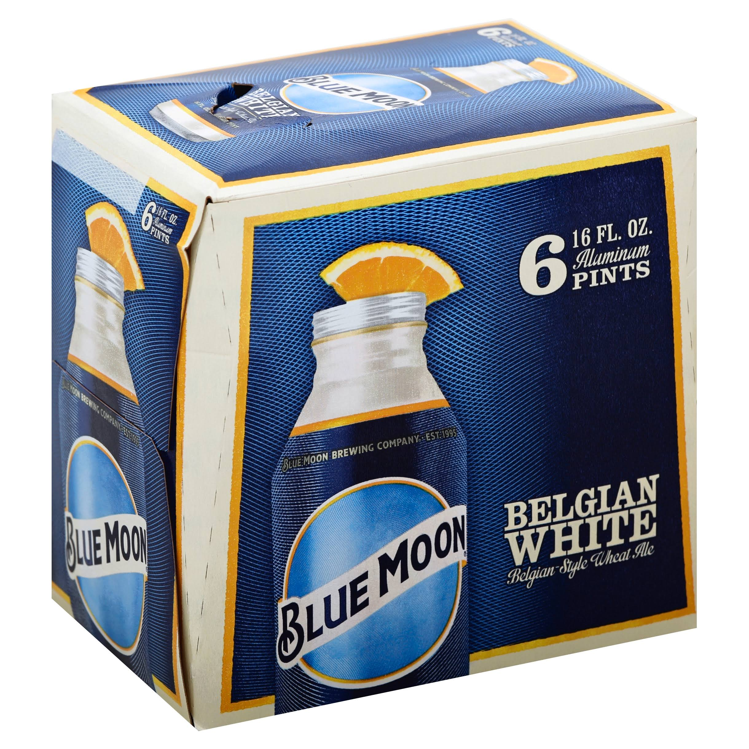 Blue Moon Beer, Belgian Wheat Ale, Belgian White - 6 pack, 16 fl oz aluminum pints