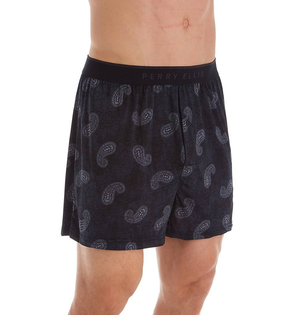 Perry Ellis 163063 Paisley Luxe Boxer Short Black/Ebony