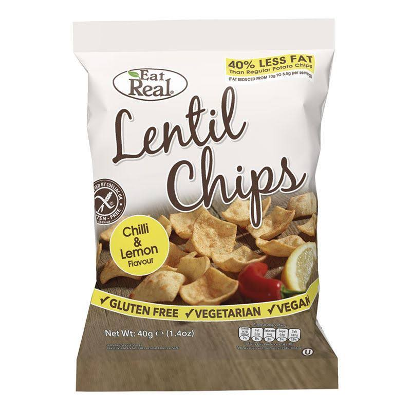 Eat Real Lentil Chips - Chilli and Lemon, 40g
