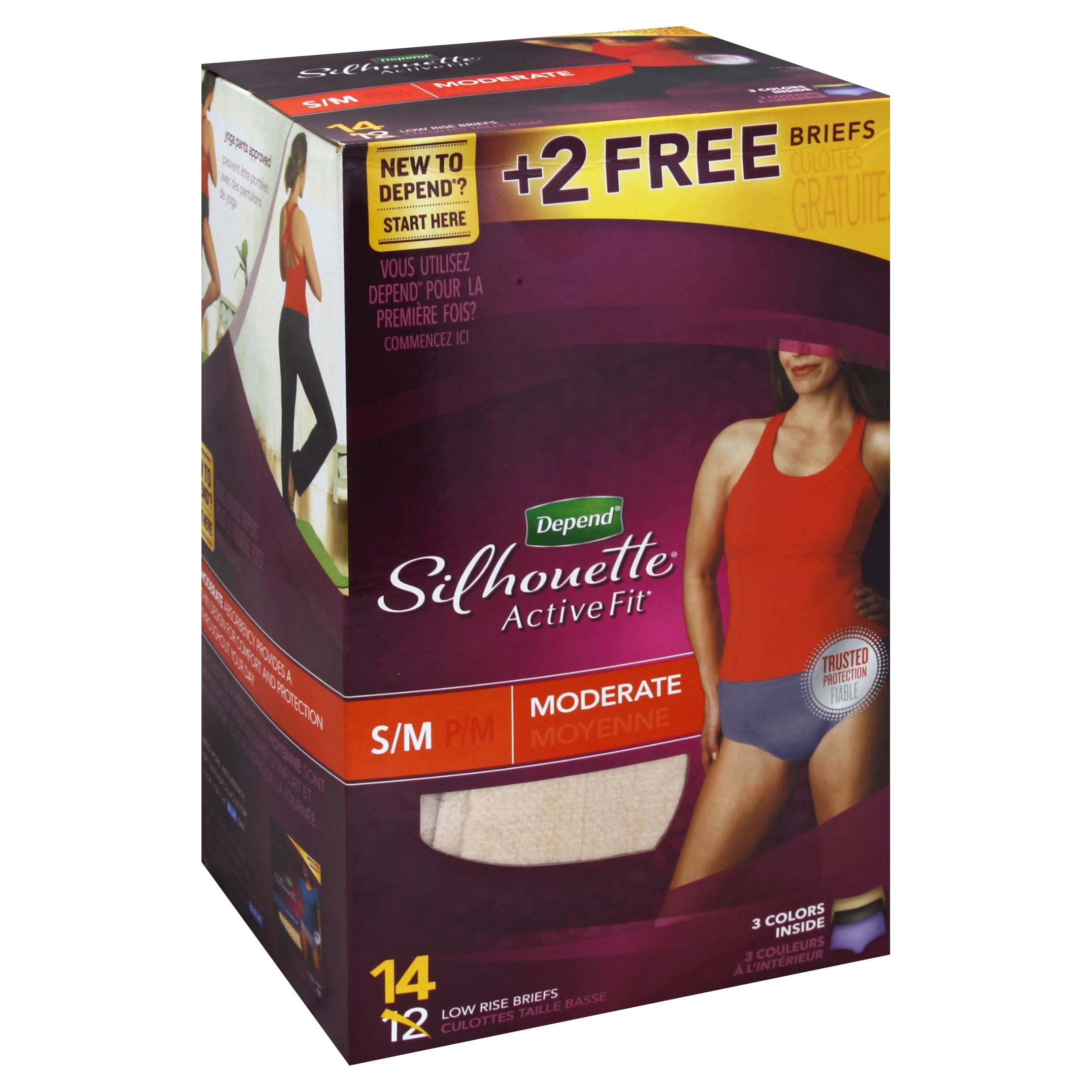 Depend Silhouette Active Fit Moderate Low Rise Briefs - Small, Medium, 14ct
