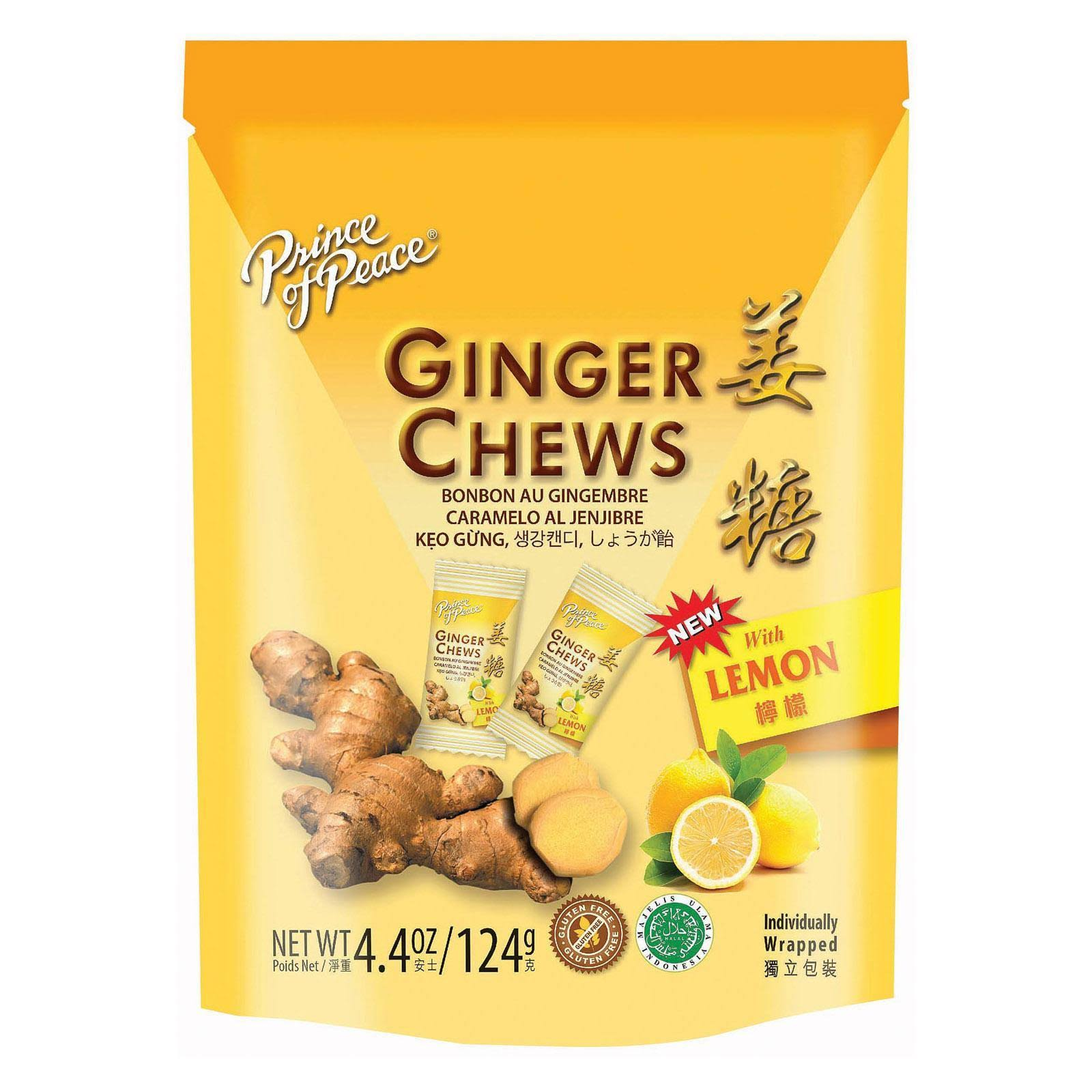 Prince of Peace Lemon Ginger Chewy Candy - 100% Natural, 4.4 oz