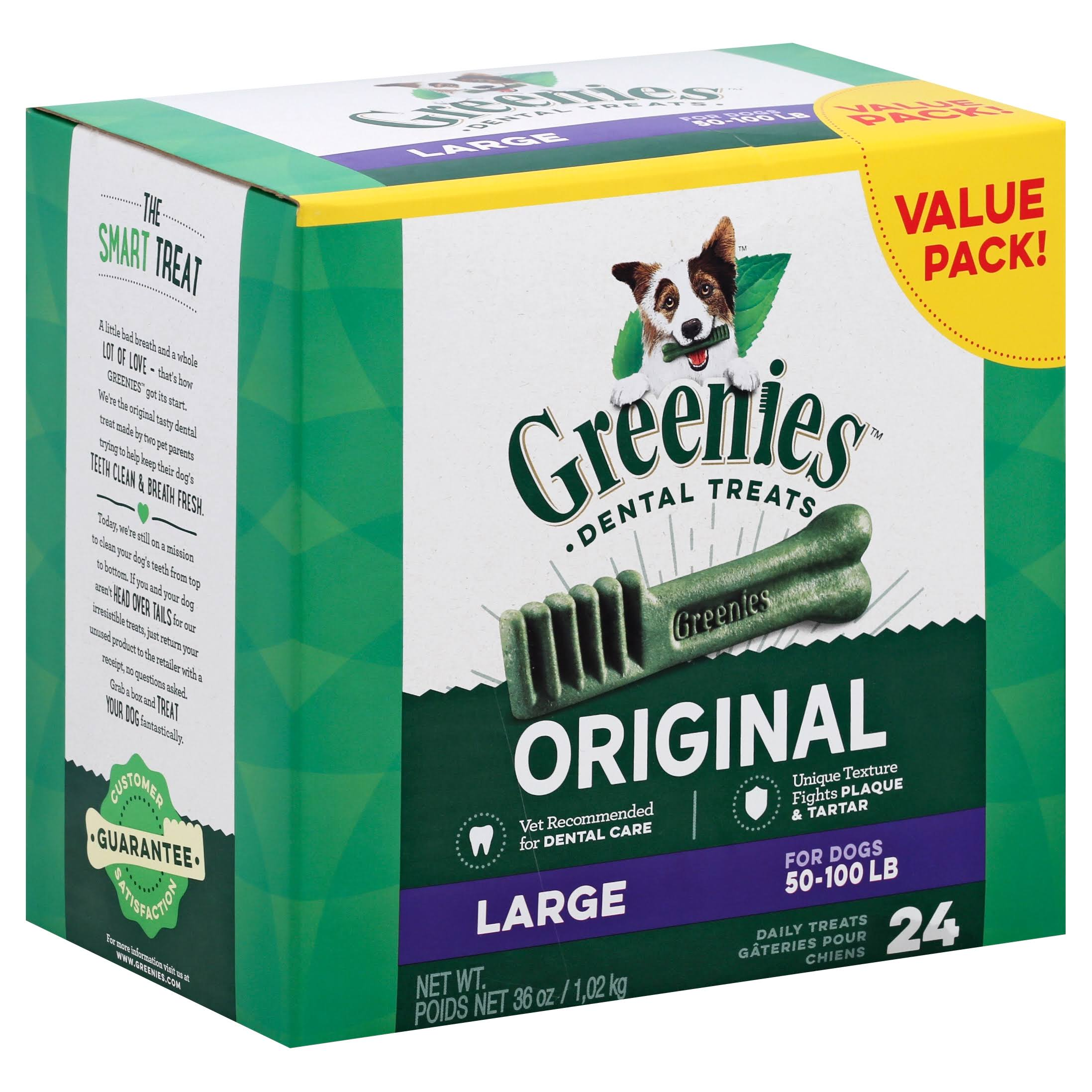 Greenies Dog Dental Chew Treats - Large, 36oz, 24ct
