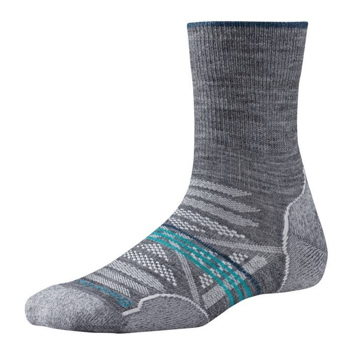 PhD Women's Outdoor Light Mid Crew Socks - Medium, Gray