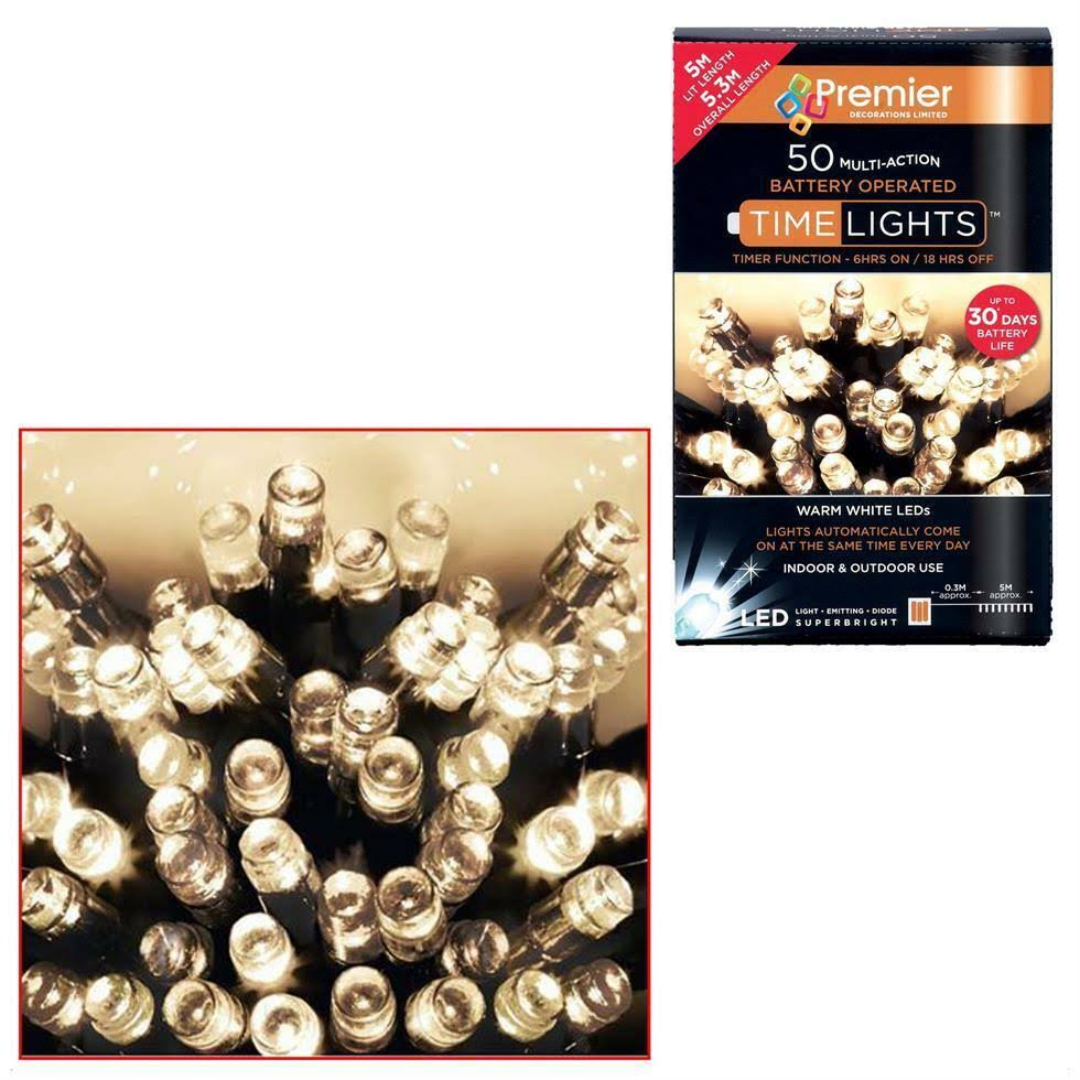Premier Decorations Christmas LEDs Time Lights - Warm White, 50 Lights