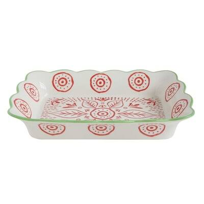 "Creative Co-Op Stoneware Baking Dish - White/Red/Green, 12-1/2""x9""x2"""