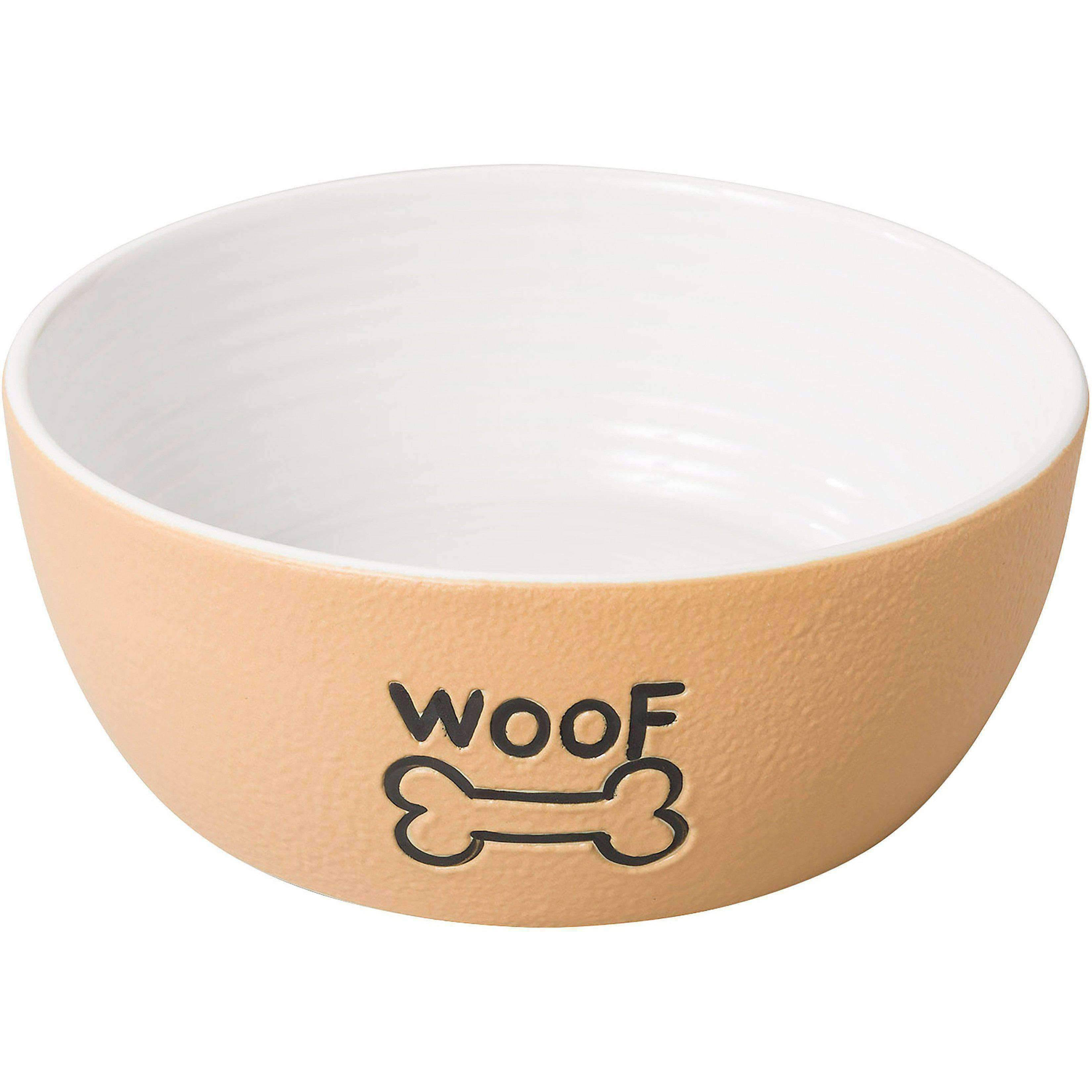 Ethical Tan Nantucket Woof Dog Stoneware Dish 7in