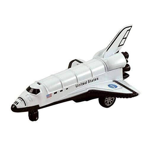 Kinsfun Die Cast Metal 5 White Space Shuttle W Pull Back Action