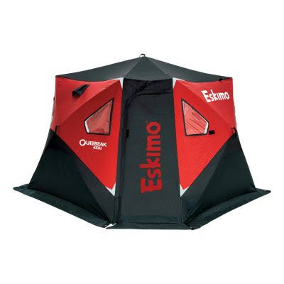 Eskimo Outbreak 450i 5-Person Pop-Up Ice Fishing Shelter, Black/Red