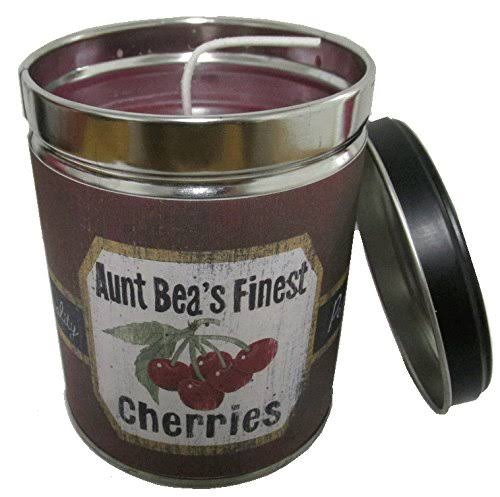 Our Own Candle Company Black Cherry Scented Candle in 13 Ounce Tin with A Vintage Cherries Label