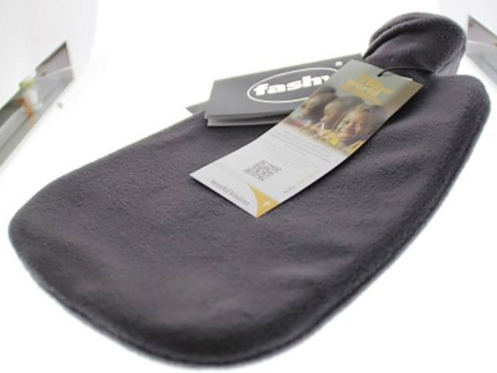 Fashy 2 Litre Anthracite Hot Water Bottle with Fleece Cover