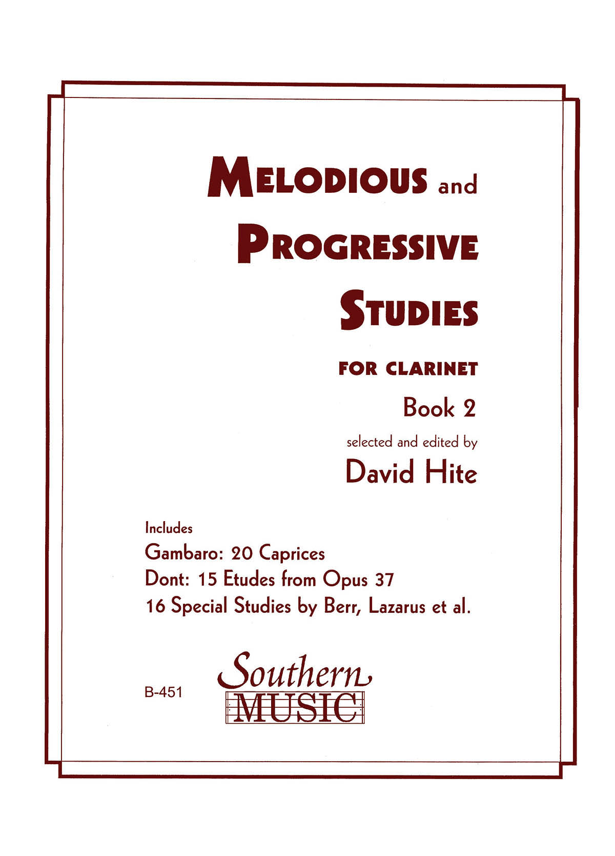 Melodious and Progressive Studies for Clarinet Book 2 - David Hite