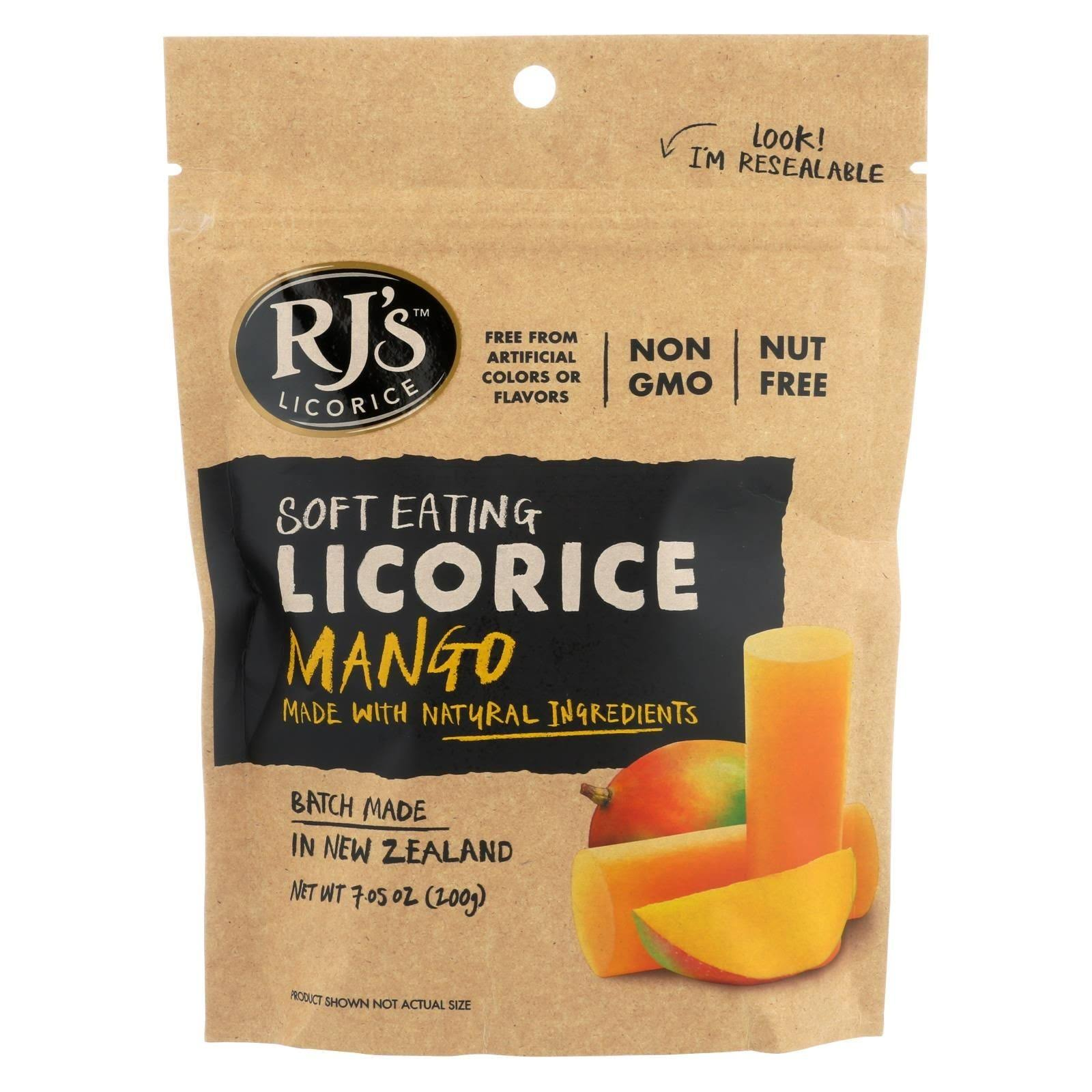 RJ's Licorice Soft Eating Licorice, Mango - 7.05 oz pouch