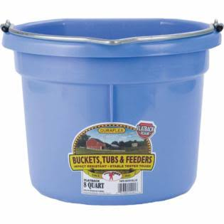 Miller Manufacturing Plastic Flat Back Bucket for Horses - 8 Quart, Berry Blue