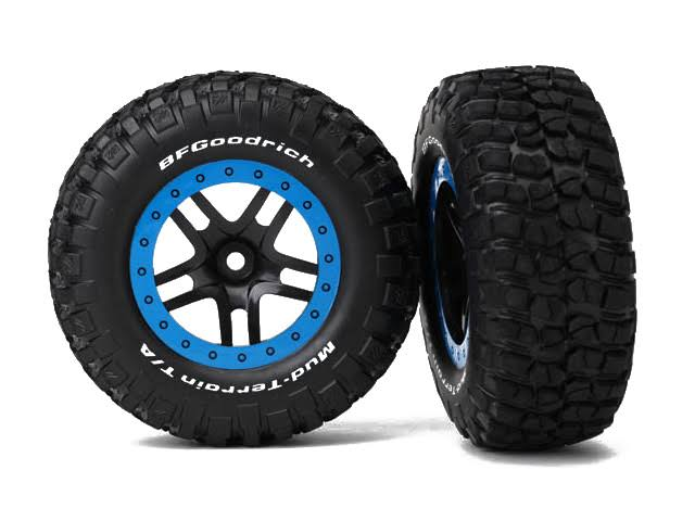 Traxxas 5883A Slash 4x4 SCT Split Spoke Wheel-Mounted Mud Terrain Tires - Blue