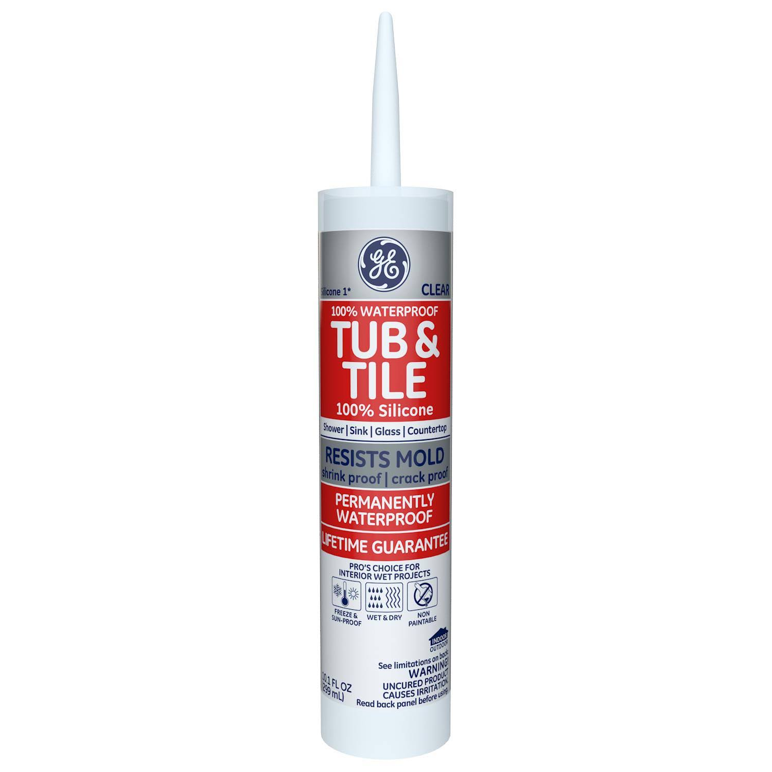 GE Silicones Kitchen and Bath Sealant - Clear, 10.1oz